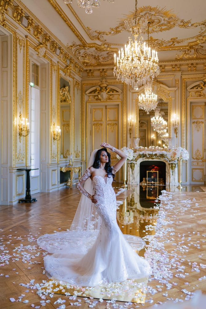 Beautiful real Paris bride posing for photos at Shangri La