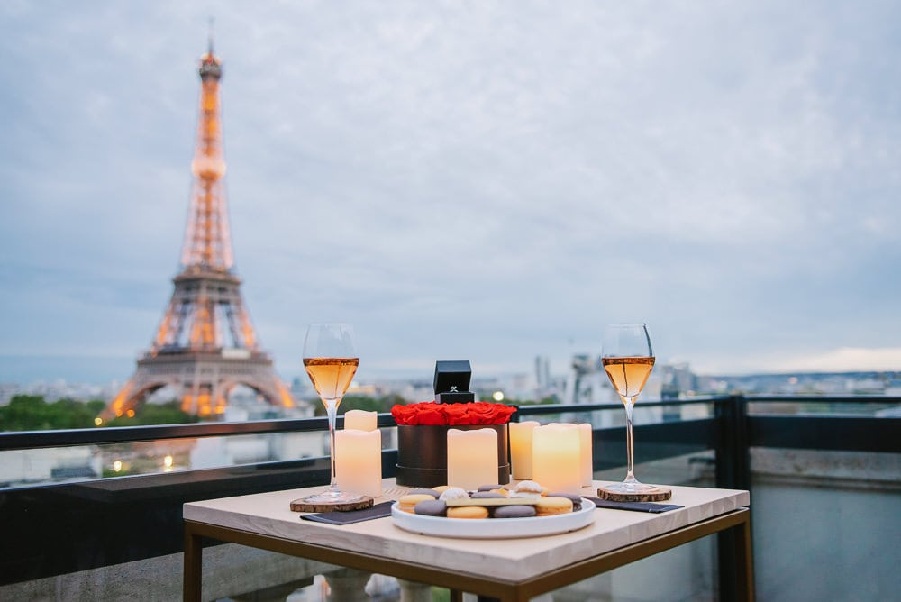 Romantic setup for an Eiffel Tower proposal