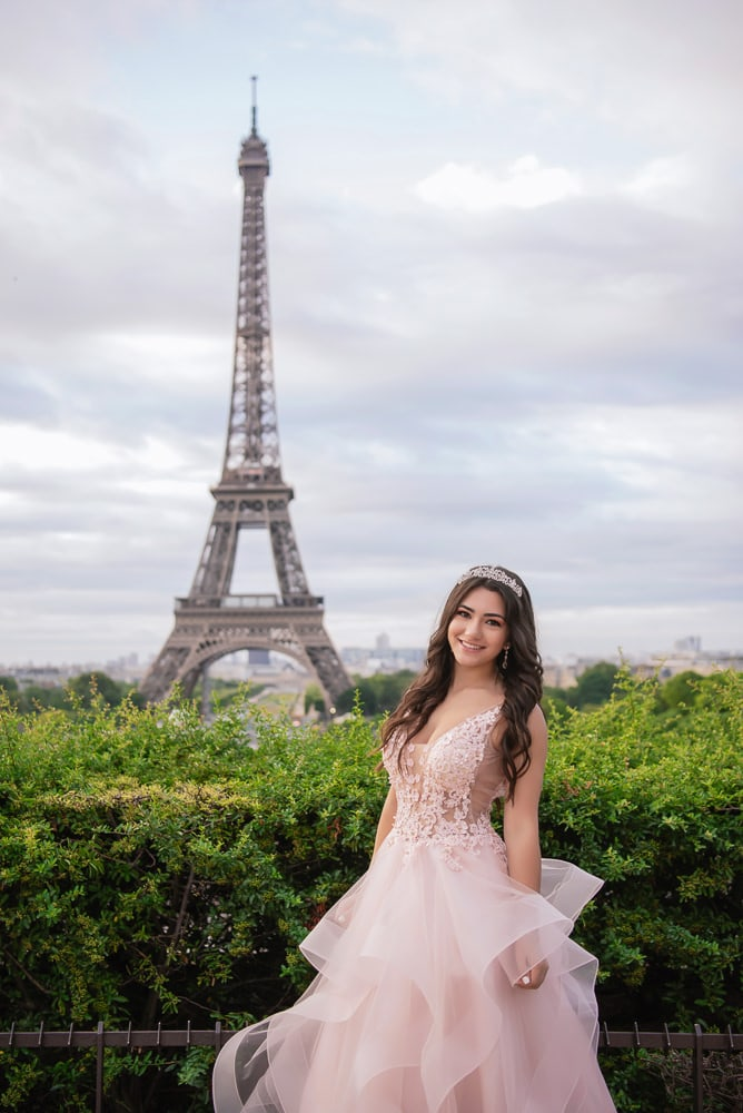 paris quinceanera - beautiful girl in fabulous dress