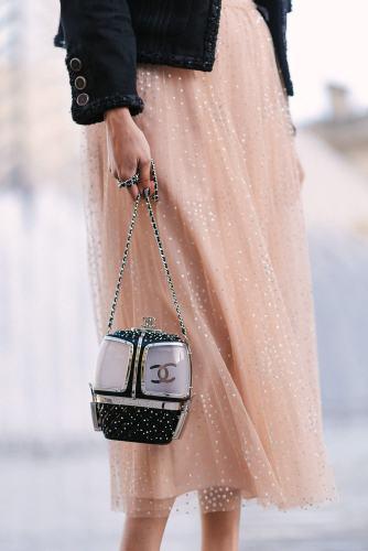 Chanel purse and tutu dress solo portraits in Paris