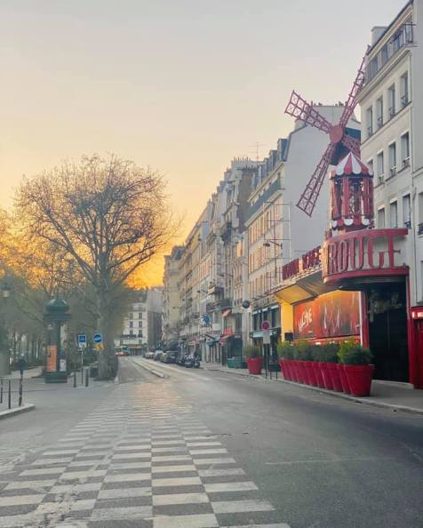 Paris lockdown - Moulin Rouge during the covid outbreak in France April 2020