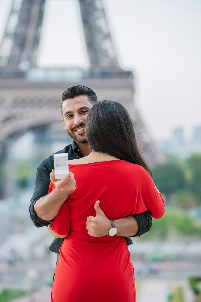 Eiffel Tower sunrise surprise proposal 14