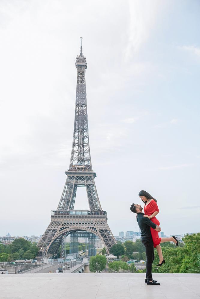 Eiffel Tower sunrise surprise proposal 3