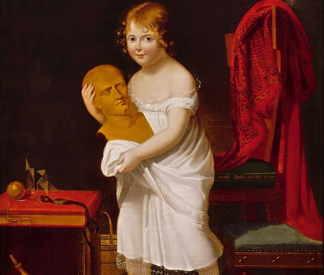 Portrait Of Princess Laetitia Daughter Of Caroline And Joachim Murat Grand Duke And Duchess Of Berg And Cleves Holding A Bust Of Her Uncle Napoleon
