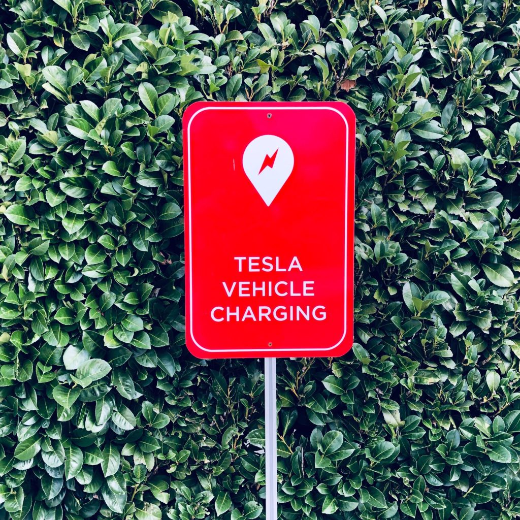 A Tesla Vehicle Charging Sign