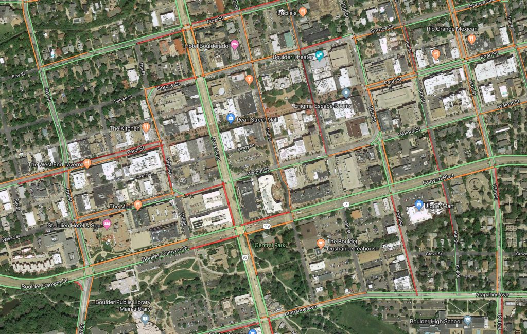 Satellite Photo of Downtown Boulder