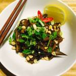 Eggplant, Mushrooms and Spinach Noodles with Spicy Peanut Sauce