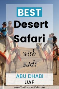 Going to Dubai or Abu Dhabi in the United Arab Emirates and looking for more info on which desert safari is best for families. Here is all the info you need to know about things to do on a Dubai desert safari with kids including: camel riding, sand dunes, sandboarding, evening safari, dune bashing, henna tattoos, belly dancing, camel farm and so much more . Easy, safe, and fun experiences for your next family holiday to UAE. #desertsafari #dubai #uae #abudhabi #camelriding #sandboarding