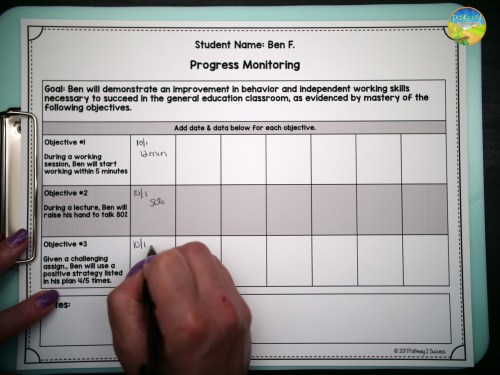 Editable Progress Monitoring Forms