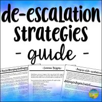 Use this de-escalation strategies and techniques guide to use with kids and teens. These strategies are critical to help defuse challenges with students.