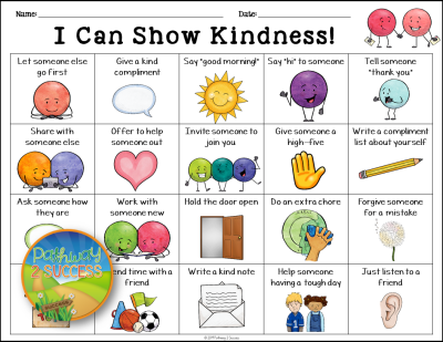 Free Kindness Activity and more to help kids and young adults with social emotional learning skills. #sel #socialemotionallearning #pathway2success