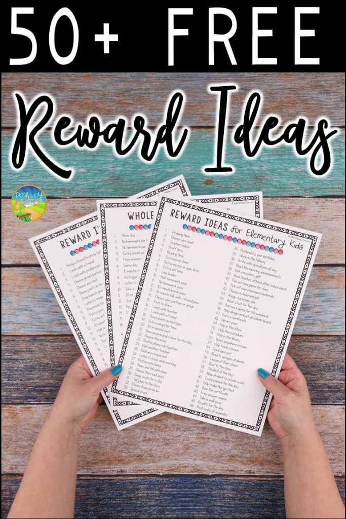 Over fifty free rewards and incentives ideas for positive reinforcement for students! Rewards for children and young adults can be a powerful classroom management tool to increase positive behavior. It's important to keep rewards fun and fresh in school! Use this free printable list to give some strategies and ideas. #behavior #pathway2success