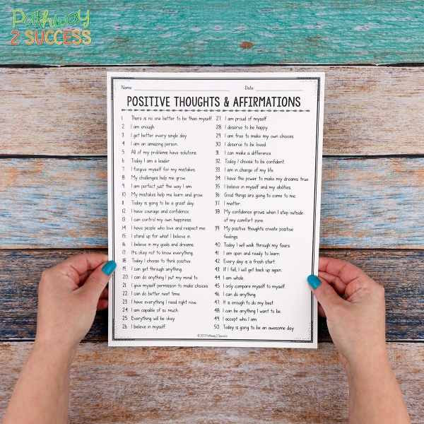 Use morning positive affirmations as a positive and motivating way to start each day with your students! Learn how you can follow a few steps to promote a more positive classroom climate with a free printable download right away. A great way to integrate social emotional learning into every teacher's classroom. #sel #positiveaffirmations #pathway2success