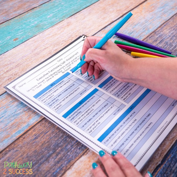 9 FREE executive functioning activities for kids and teens. These are perfect activities and printable worksheets to help students build skills like attention, organization, time management, self-control, and more. Activities include workbooks, posters, coloring pages, and more. #pathway2success