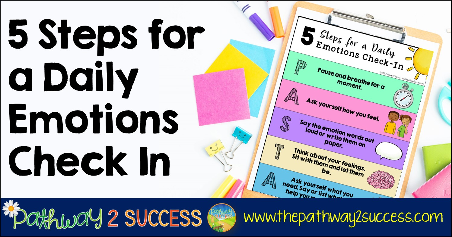 5 simple steps for a daily emotions check-in.  This is a healthy, fun, and meaningful way to integrate social emotional learning into the classroom and at home. Use this free printable and digital poster to set the stage for student success! Just follow each of the steps to help kids and young adults identify their feelings and problem-solve.