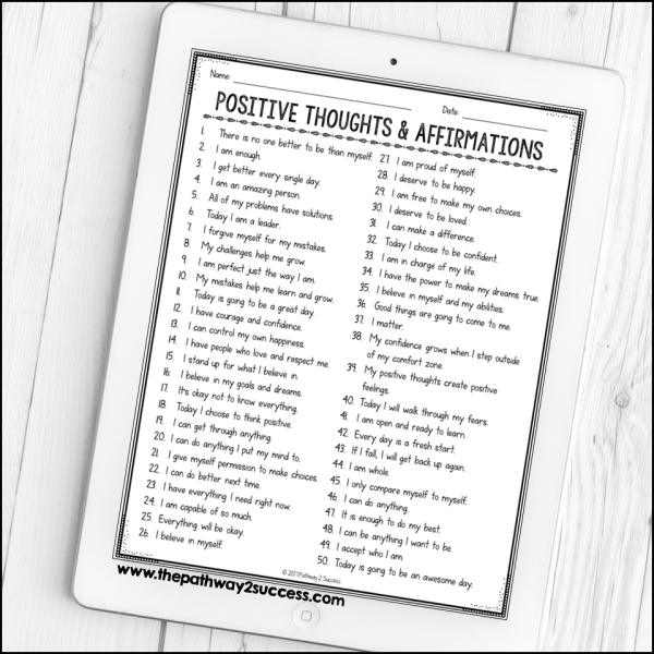 Reading positive affirmations can build confidence while also creating a sense of calm. Use this free positive affirmations activity to read through a list of self-talk statements and write out favorites to read.