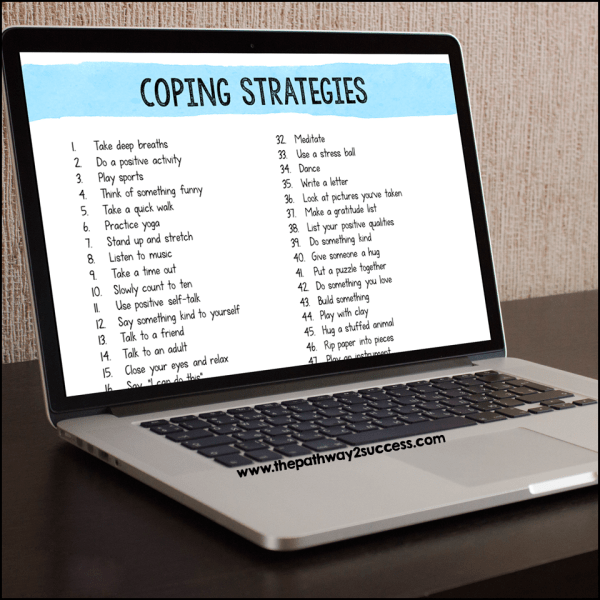 Help kids and young adults understand their options for coping skills with a menu. Grab some pre-made coping strategies visuals or use this free coping strategies list to help kids and teens make a list of their own.