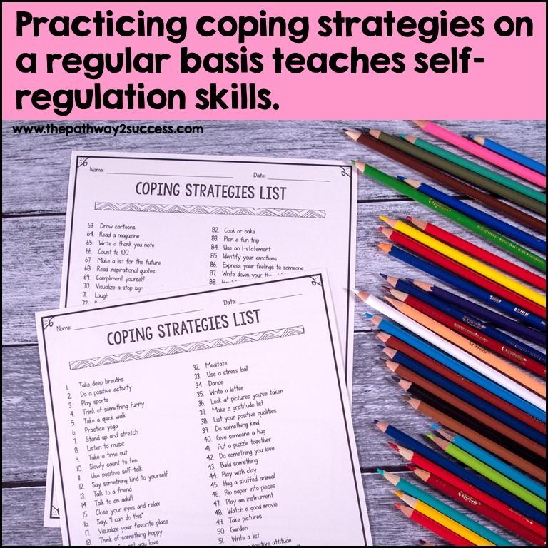 Coping strategies list to teach self-regulation.