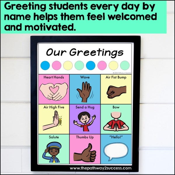 Free greetings poster for morning meeting