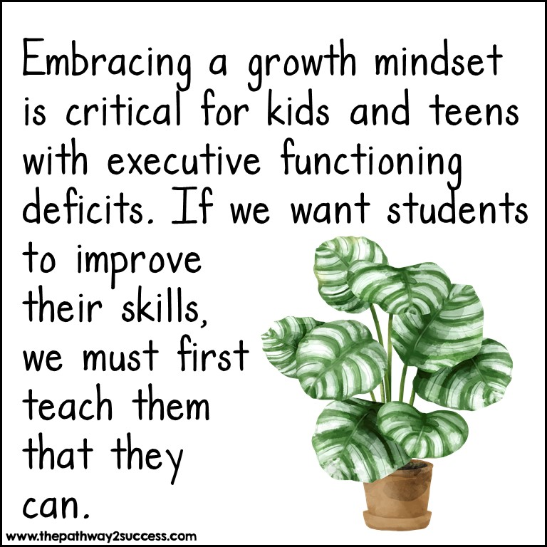 Teach a growth mindset to kids with executive functioning challenges.