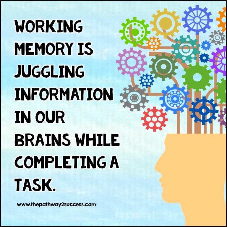 Working memory is juggling information in our brains while completing a task.