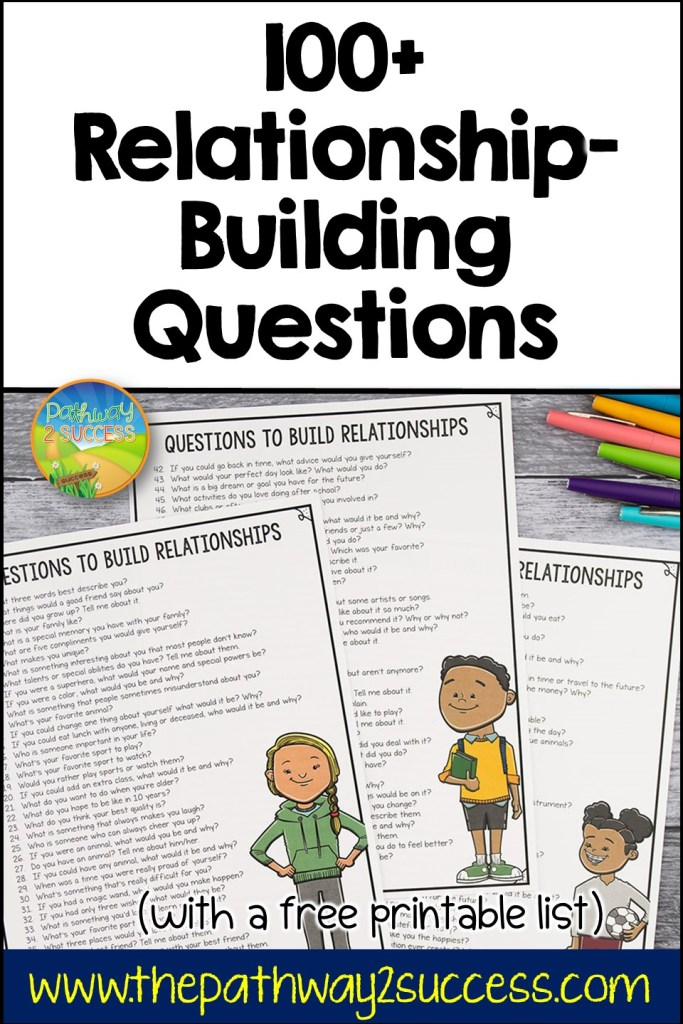 Relationship-building questions for social emotional success.