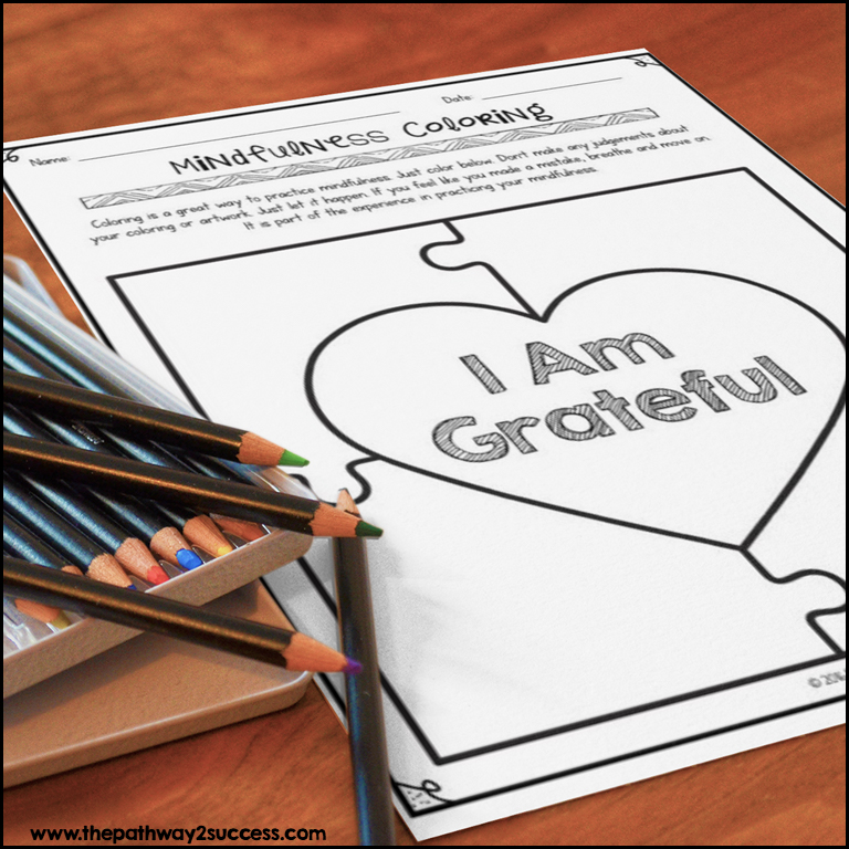 Free mindful coloring worksheets for kids and teens.