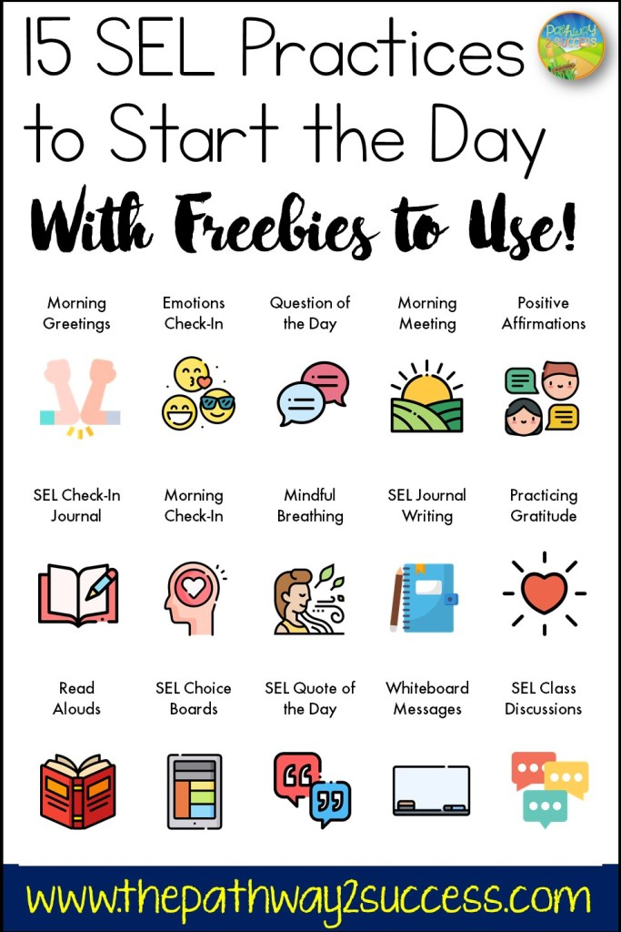 15+ SEL practices to start the day with! Lots of freebies, ideas, strategies, and supports to start the year with. A great way to integrate social emotional learning in every classroom. Ideas include morning greetings, emotions check in, positive affirmations, quote of the day, class discussions, and more!