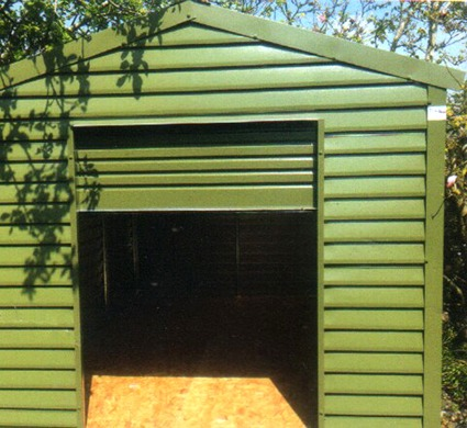 Shed with roller door