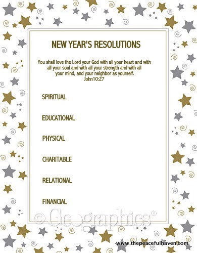 image about New Year Resolution Printable identified as Refreshing Decades Resolutions and Cost-free PRINTABLE The Relaxed Haven