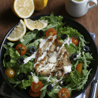 Fish Souvlaki Salad