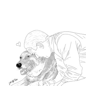 Pencil sketch of President Joe Biden leaning over to hug his german shepard, Champ.