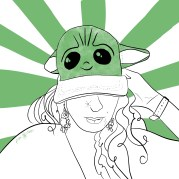 Colored pencil sketch of a woman smiling while wearing a baby yoda ball cap.