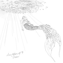 Pencil sketch of a mermaid swimming towards the sunlit surface of the sea.