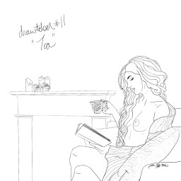 A pencil sketch of a nude wonan wrapped in an open cardigan reading a book and sipping tea by a fireplace.