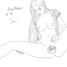 Pencil sketch of a woman in the nude, reaching between her parted legs. An apple rests directly over her vulva.