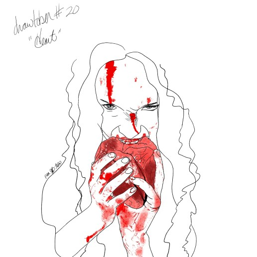 A black and red sketch of a woman biting directly into a human heart.