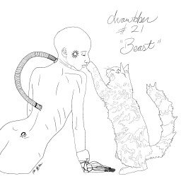 A sketch of a cybertronic woman similar to The Borg from Star Trek, sitting nude and playing with a long haired cat.