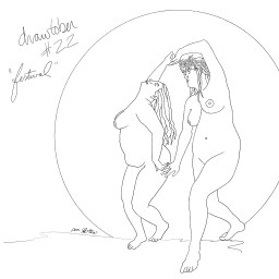 Two nude plus sized women dancing together in moonlight.