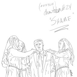 "Pencil sketch of Donald Trump in a suit with a Nazi pin on the lapel, being arrested/attended to by the ""Shame Nuns"" from Game of Thrones."