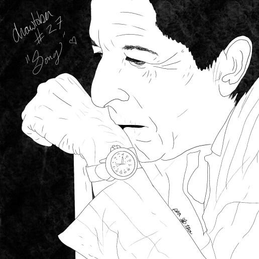 Pencil sketch of Leonard Cohen.