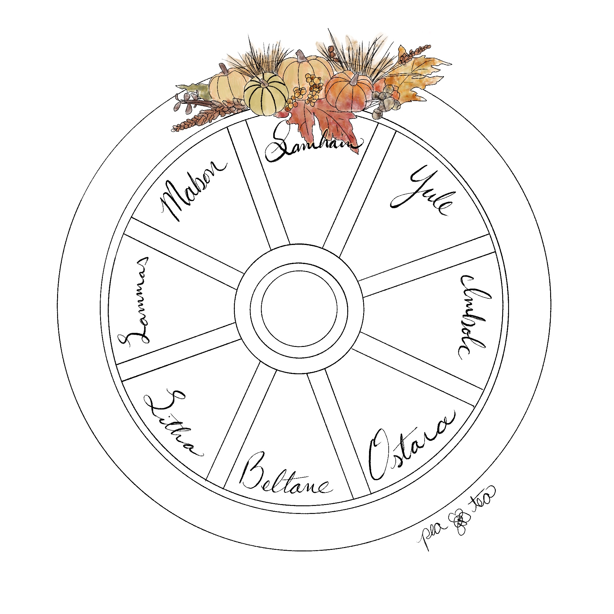 Pencil sketch of a wagon wheel with the pagan sabats and equinoxes written around the inside of the circle. Samhain is at the top, with colorful autumnal florals and pumpkins painted in watercolors on the outer edge of the wheel.