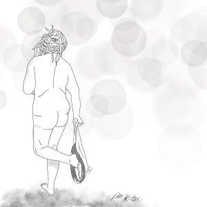 Pencil sketch of a nude woman from behind. She's standing on one leg, removing her underwear around one ankle. She has dreadlocks piled in a bun on her head, and is framed in bubbles.