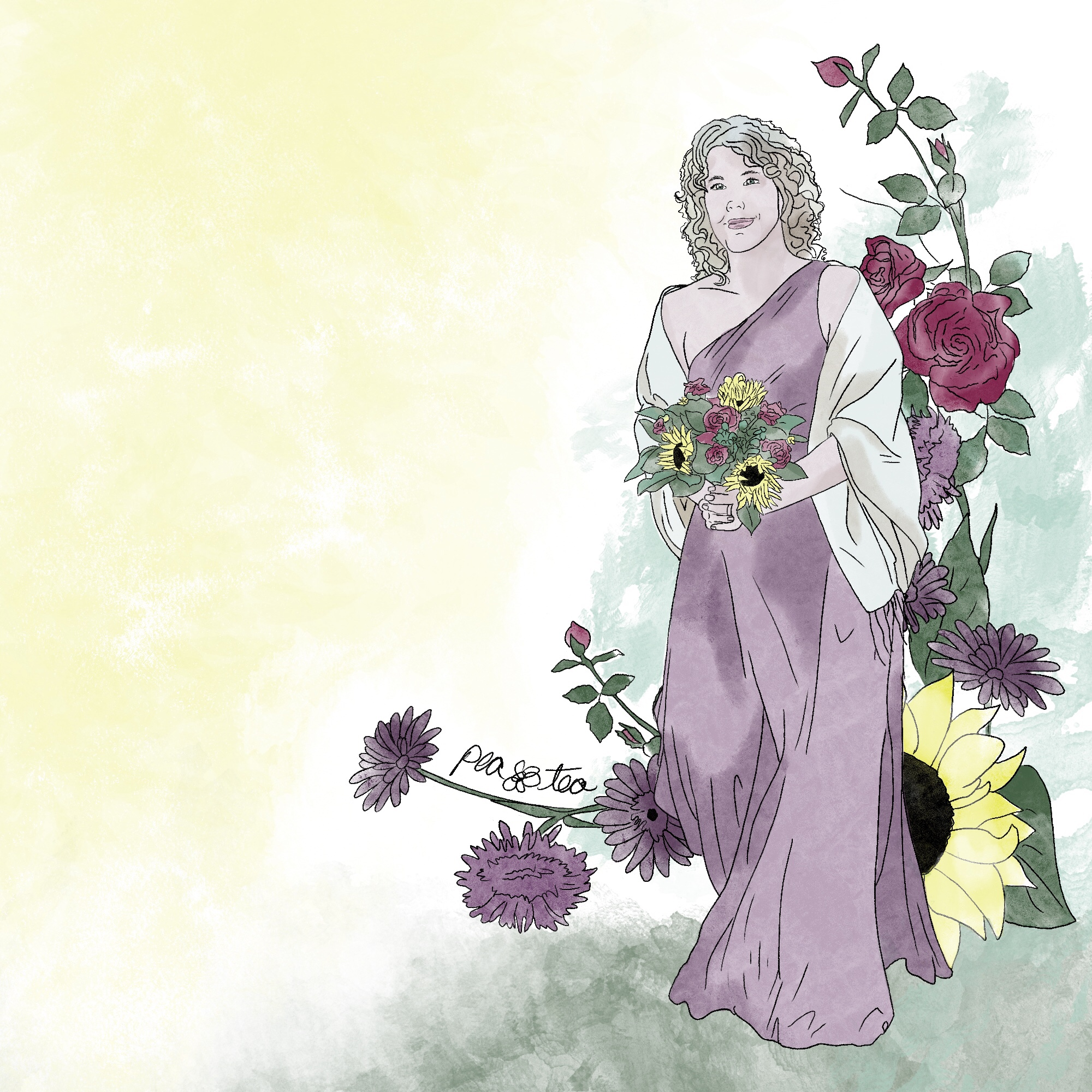 a watercolor and colored pencil piece of a beautiful woman with dark blonde curls is wearing a long purple gown and a cream fringe shawl. She's carrying a bouquet of sunflowers and red roses. She's framed by more drawings of purple mums, red roses, and sunflowers.