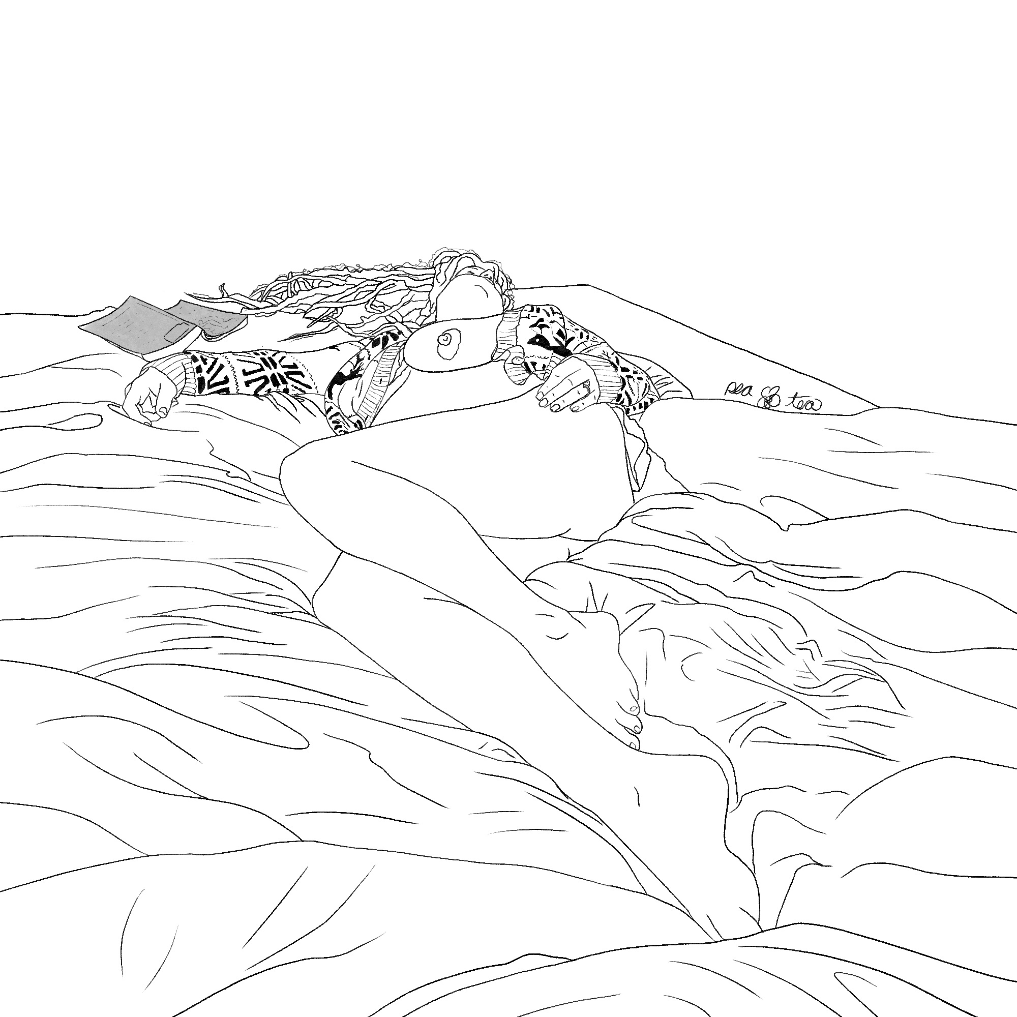 Pencil sketch of a nude woman in recline on a tousled bed. A book lays open, face down and forgotten near one outstretched arm as she sleeps.