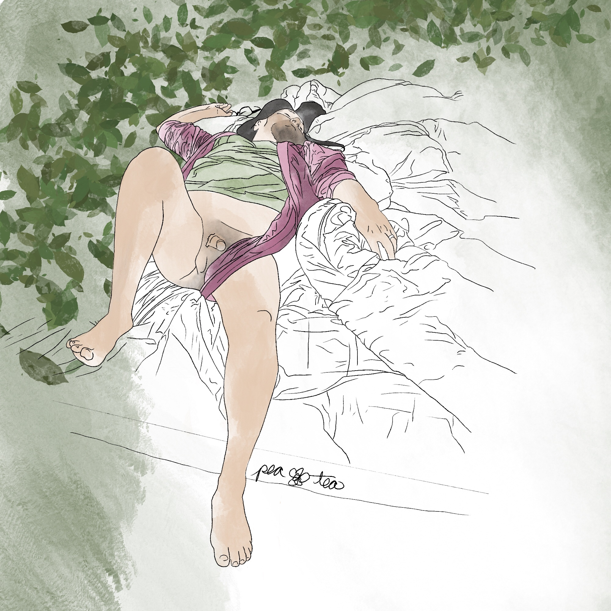 A man with long dark hair lays sleeping on his back with one knee up, and one leg hanging off of the bed. He is wearing a red robe, open, and a green shirt. He is nude from the waist down, an a pair of glasses lays next to one outstretched hand. Green watercolor leaves sweep up one side of the image, and circle over his head.
