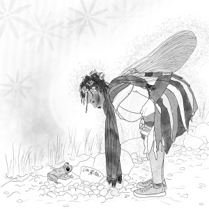 A pencil sketch of a black fairy with curls around her face and leaves in her hair. She's wearing a patchwork jacket and a long scarf with floral leggings and canvas sneakers. She's bent at the waist to better see a small frog, who is looking back up at her.