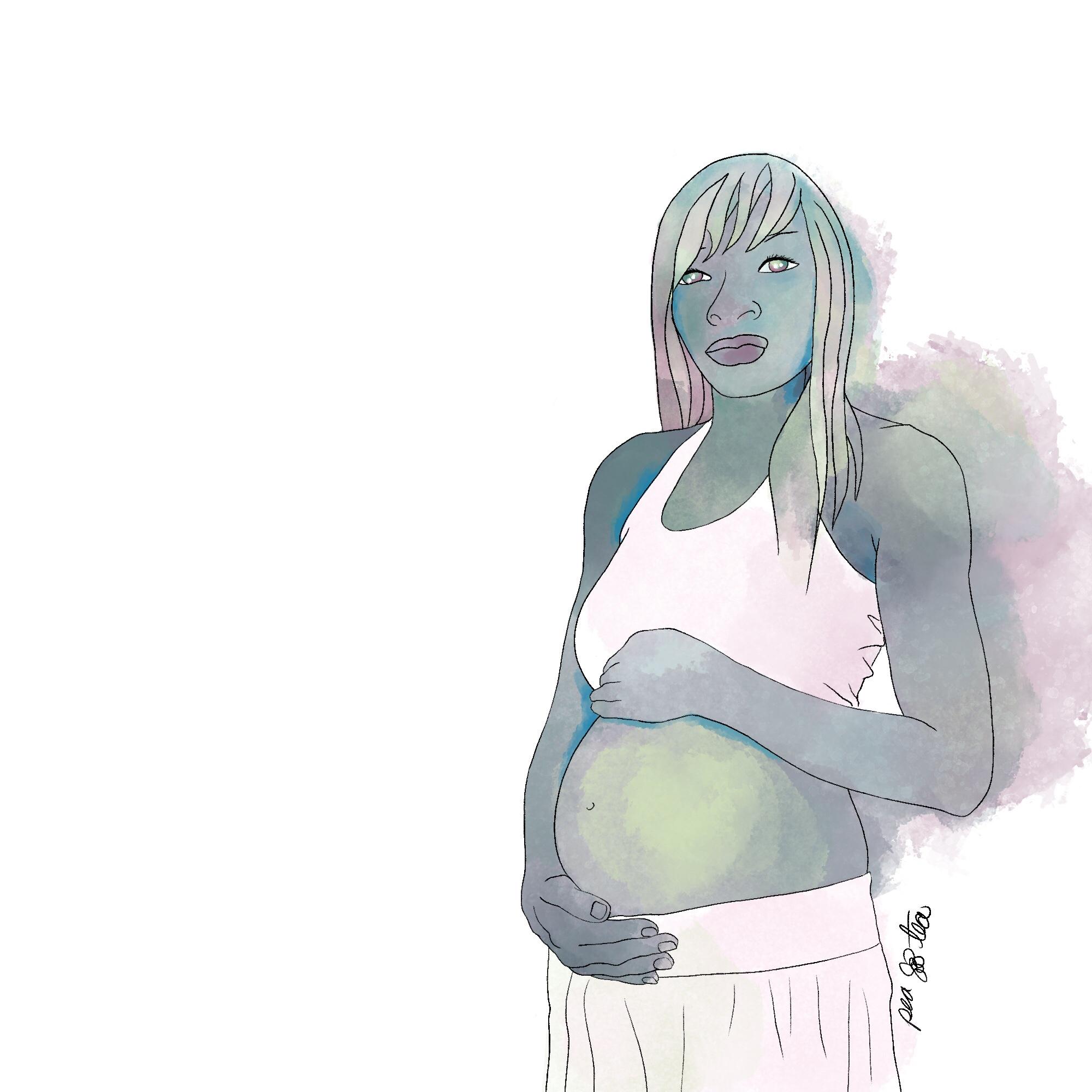 Watercolor painting of BCharleena Lyles rendered in teals, greens, pinks.