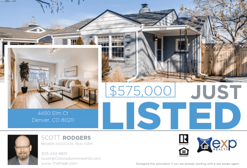 Just Listed For Sale: 4450 Elm Ct, Denver CO 80211