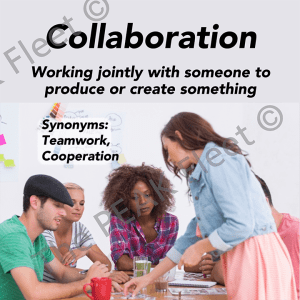 Collaboration: Working jointly with someone to produce or create something.